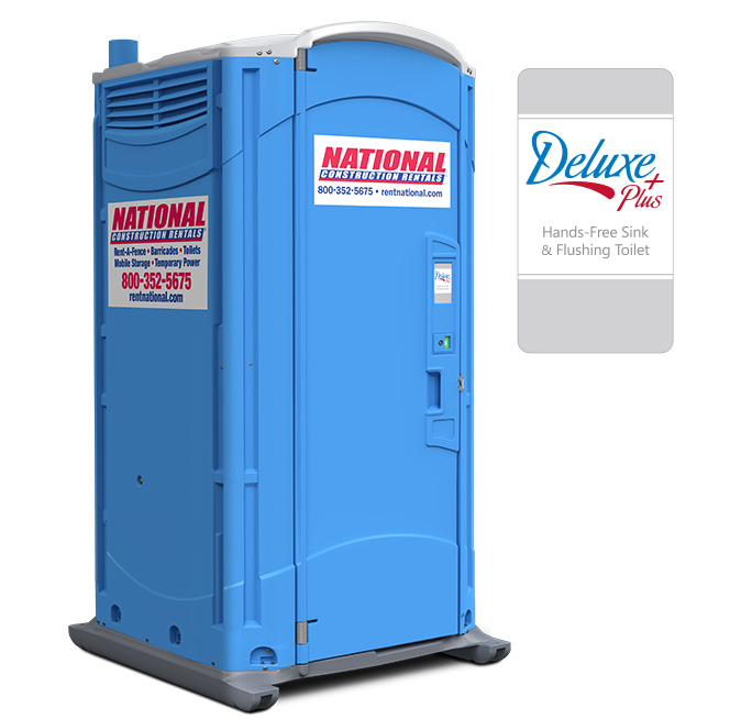 Rent a fence portable toilet rentals deluxe plus events for Deluxe portable bathrooms