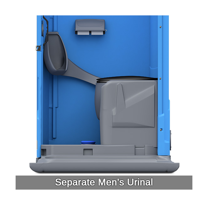 Porta potty with flush portable toilets national rent a for Deluxe portable bathrooms